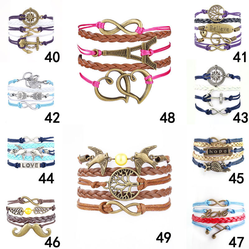 2015 Fine Jewelry Multilayer Leather Bracelet  Arrow  Eiffel Tower Anchors Infinity  Heart Owl Wings Charm Bracelets Pulseira