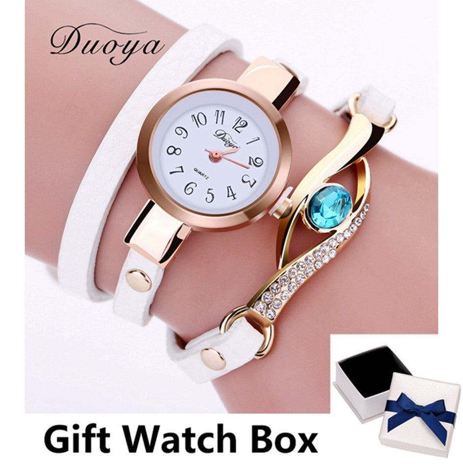 Duoya New Brand Eye Gemstone Luxury Watches Women Gold Bracelet Watch Dress Female PU Leather Electronic Quartz Wristwatches