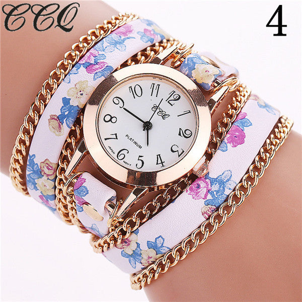 CCQ Flower Leather Bracelet Watches Fashion Women Dress Watches Quartz Watch Relojes Mujer Relogio Feminino Clock 2015 1692