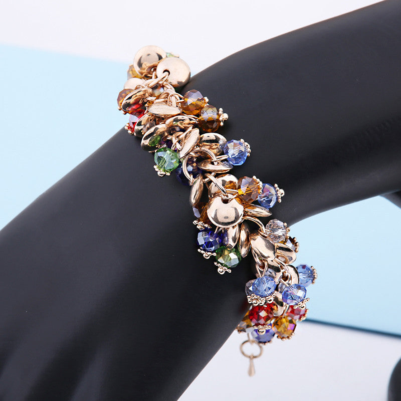 2015 Charm Bracelets & Bangles Fashion Crystal Stone Gold Bracelets For Women Friendship Bracelets Femme Jewelry  WS4113