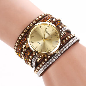 8 Colors New Arrival  luxury brand Casual Women's Watches PU Leather Korean Crystal Rivet Bracelet Watch Girls ladies Watches