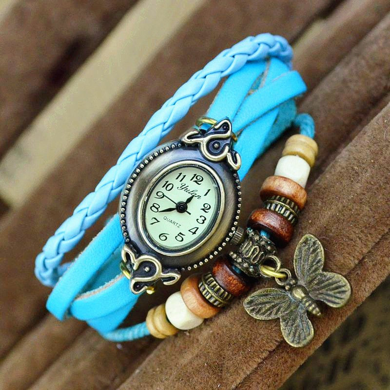 2016 Hot Sale! Butterfly Women Leather Bracelet Watch Women Dress Watches leaf Pendant Vintage Quartz Analog WristWatch No.9