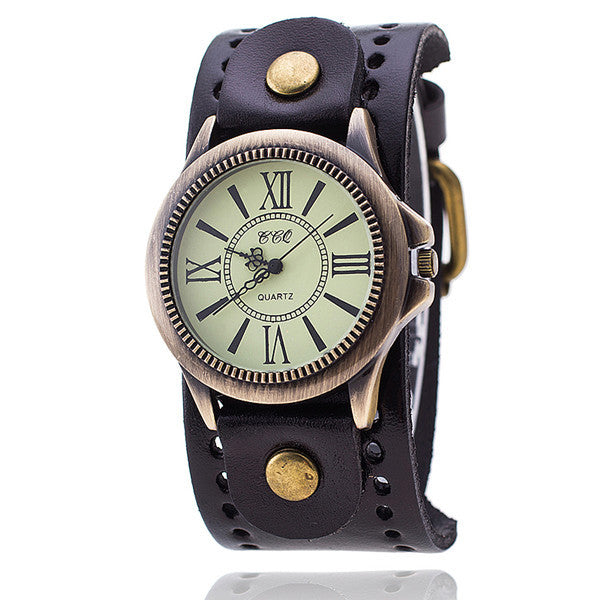 CCQ High Quality Vintage Leather Bracelet Watch Antique Bronze Dial Women Wrist Watch Quartz Watch Relojes Mujer 1391