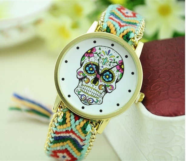 Women Watch MEXICAN Skull woman dress wristwatch Fashion Hippie Fabric Bracelet watch Skeleton reloj para dama Geneva Style