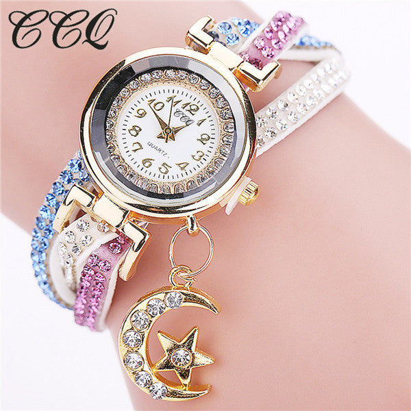 CCQ New Design Fashion Casual Analog Quartz Crystal Moon Pendant Women Leather Bracelet Watches Gift 1832
