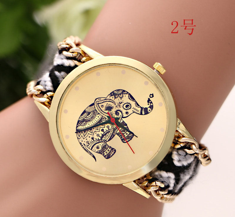HOT Sell Brand Quartz Wrist watches Handmade Braided Elephant Friendship Bracelet Watch Women Quarzt Watches relogio feminino