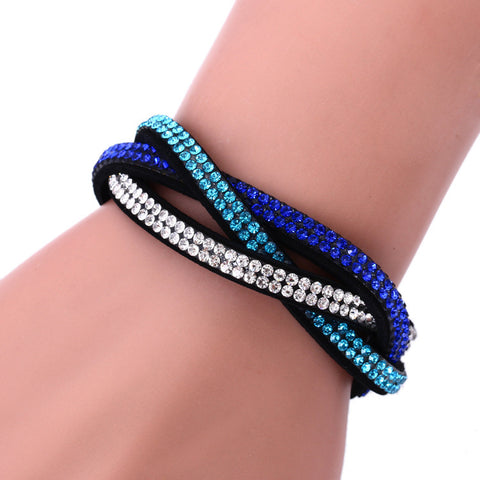 Fashion Wrap Bracelets Slake Leather Bracelets With Crystals Couple Jewelry free shipping!!!