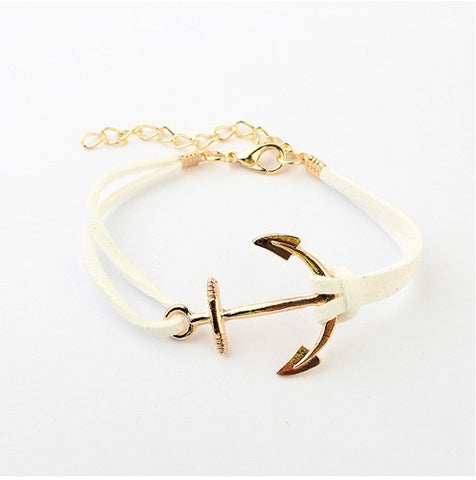 B066 European and American style Hot Multi-color 18K Gold Plated Anchor South Korean Fabric Leather Suede PUNK Bracelets #1618