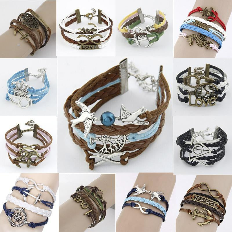 NEW 2014 Girl Jewelry Vintage Braided Anchors Rudder Metal Leather Bracelet Multilayer Rope Bracelets Wholesale Bangle Bracelet