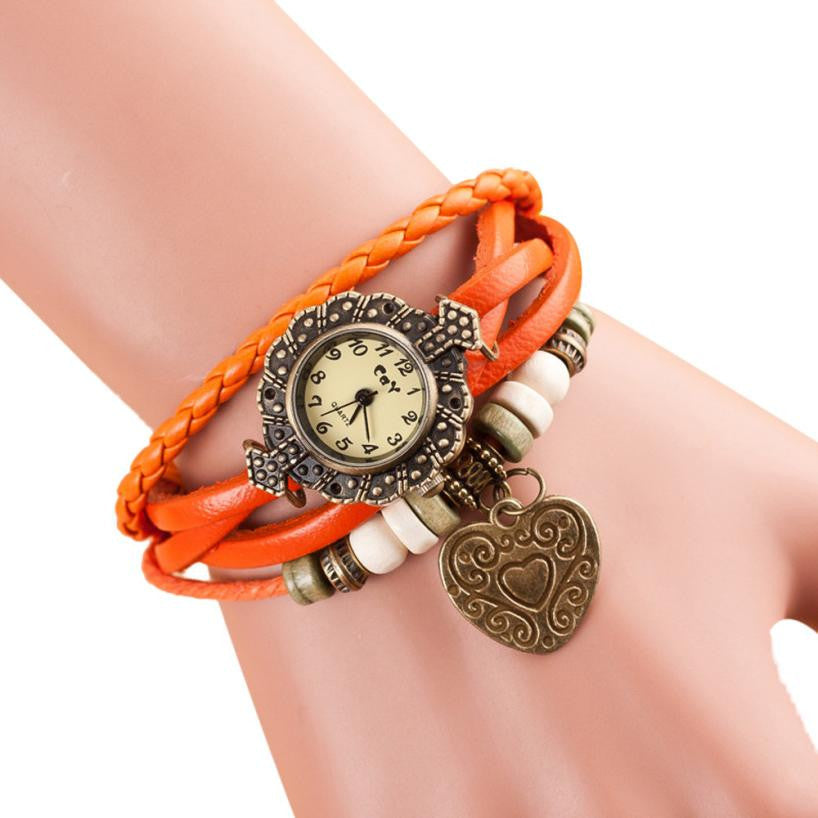 Montre Love Heart Bracelet Watches Women Wrist Relojes Mujer 2016 Vintage Weave Around Leather Quartz-Watch Women's Wristwatch
