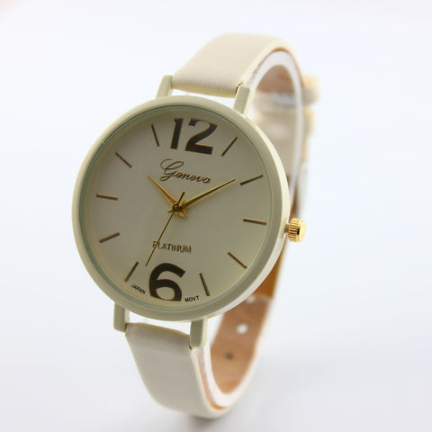 2016 Fashion Women Bracelet Watch Geneva Famous brand Ladies Faux Leather Analog Quartz Wrist Watch Clock Women relojes mujer