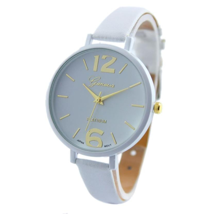 10 Colors Women Bracelet Watch Geneva Famous brand Ladies Faux Leather Analog Quartz Wrist Watch Clock Women relojes mujer 2016