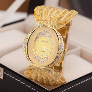 2016 new fashion gold quartz watch famous brand women clock Elegant women Watch Luxury Bracelet watch relogio feminino