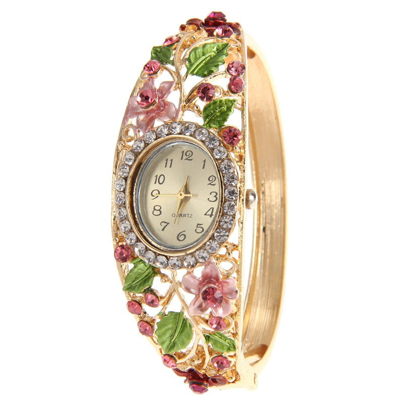 2016 top brand luxury Women's Watch Fashion Crystal Flower Bangle Bracelet Watch 6 Colors Analog Quartz Watch
