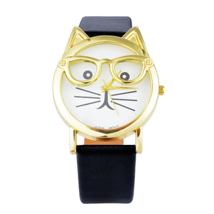 Lovely Cute Cat Watches Women Girls Gold Wristwatch Jelly Color PU Leather Bracelet Watch For Women Quartz-watch reloj mujer