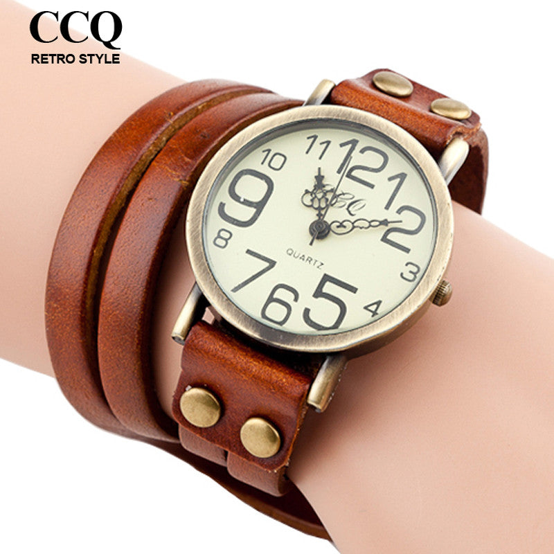 9 Colors 2016 Antique Watch Fashion Wrap Winding Vintage Watch Cow leather Bracelet Watches Ladies Women Wristwatches