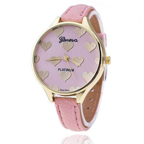 1 PCS Cute New Heart Shape Women Slim Leather Band Geneva Quartz Analog Casual Bracelet Watches Wristwatch Relogios Femininos