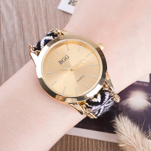 2016 Hot Handmade Braided Friendship Bracelet Watch New Arrival Geneva Hand-Woven Wristwatch Quarz Gold Clock Women Dress Watch