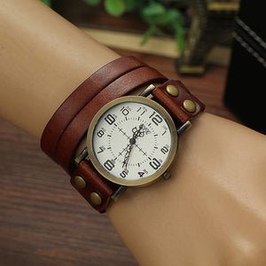 2016 New Punk Style Quartz Watches Women Personality Leather Bracelet Watch Fashion Casual Clock Relogio Feminino