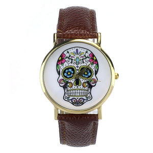 2016 New Brand Fashion Punk Skull Men Dress Quartz Leather Rivets Bracelet Watches Women Crystal Casual Relogio Feminino Watch