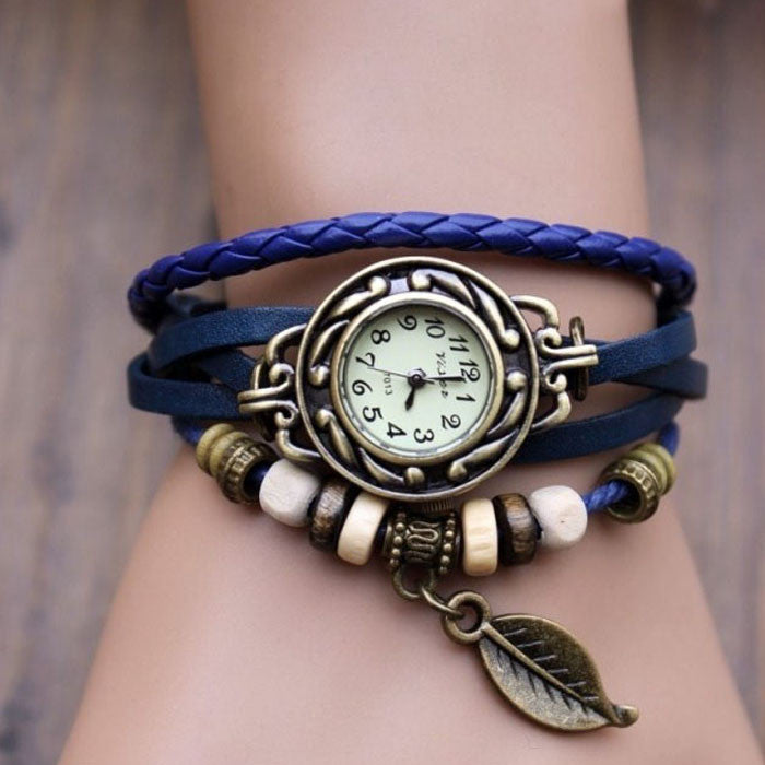 Fashion 1PC Women's Bracelet Watches Vintage Weave Wrap Quartz Leather Leaf Beads Wrist Watches relogios femininos TONSEE