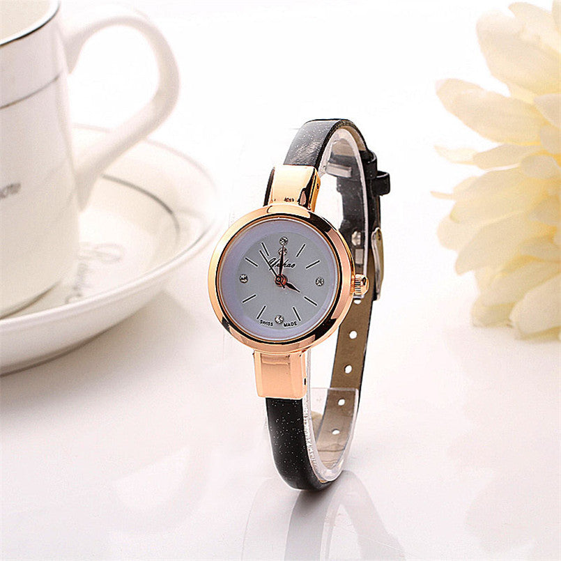 Ultra Thin Faux Leather Watch Women Bracelet Watches 2016 Simple Design Ladies Small Dial Quartz Analog Wristwatch Clock Reloj