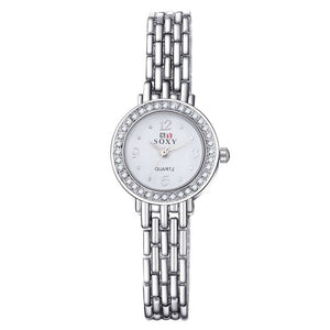 New 2016 Fashion Casual Clock Silver Bracelet Watch Women Rhinestone Watches Women's elegant Quartz Wrist Watch relojes mujer