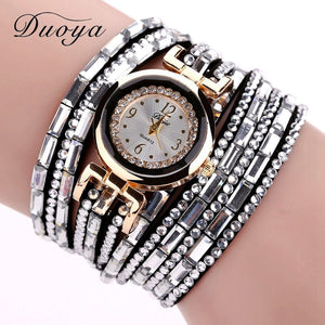 Duoya Brand Gold Alloy Crystal Fashion Bracelet Watch Women Casual Jewelry Clock Female Dress Quartz Electronic Wristwatch DY004