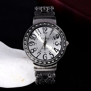2016 Hot Sale Retro Bracelet Watch Women Watches Rhinestone Quartz Watch Clock Hour montre femme relogio feminino reloj mujer