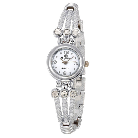 2016 New Fashion Women Steel Quartz Watches Bracelet Watches with Rhinestone Luxury Silver Cheap Wristwatch Relogio Feminino