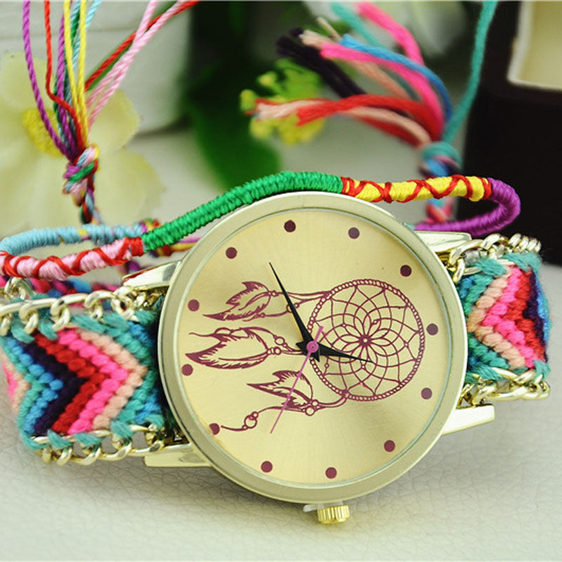 Casual Clock Women Bracelet Watch Dreamcatcher Friendship Bracelet Watches Braid Dress Watches Montre Femme Hot Sale Feida