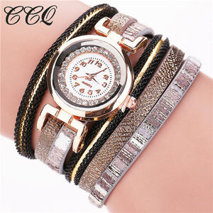 CCQ 2016 Fashion Leather Bracelet Watches Casual Women Wristwatch Luxury Brand Quartz Watch Relogio Feminino Gift C47