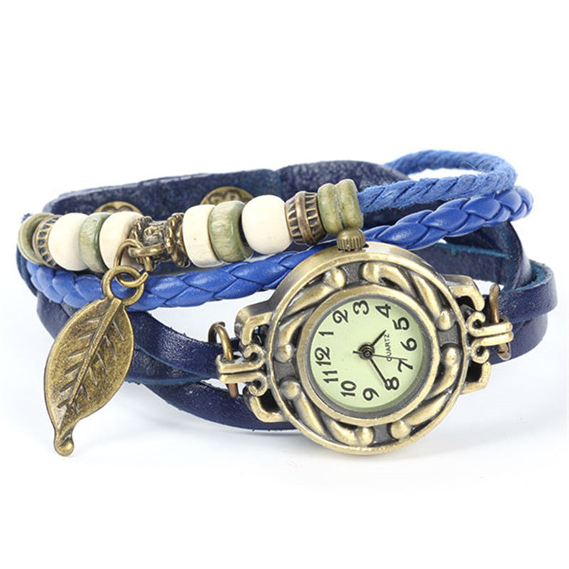 2015 New Summer Style Relojes Cute Women Relogio Digital Woven Leaves Leather Bracelet Watch Quartz Wrist Watches