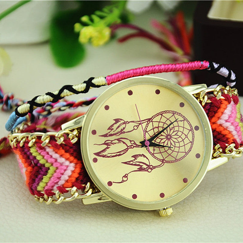 Excellent Quality Womens Quartz Watches Dreamcatcher Bracelet Watches Women Braid Dress Watches Clock Relogio for Gift