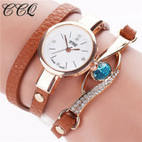 CCQ Brand New Luxury Blue Eye Crystal Wrist Watch Women Leather Bracelet Watches Quartz Watches Watched Relogio Feminino C53