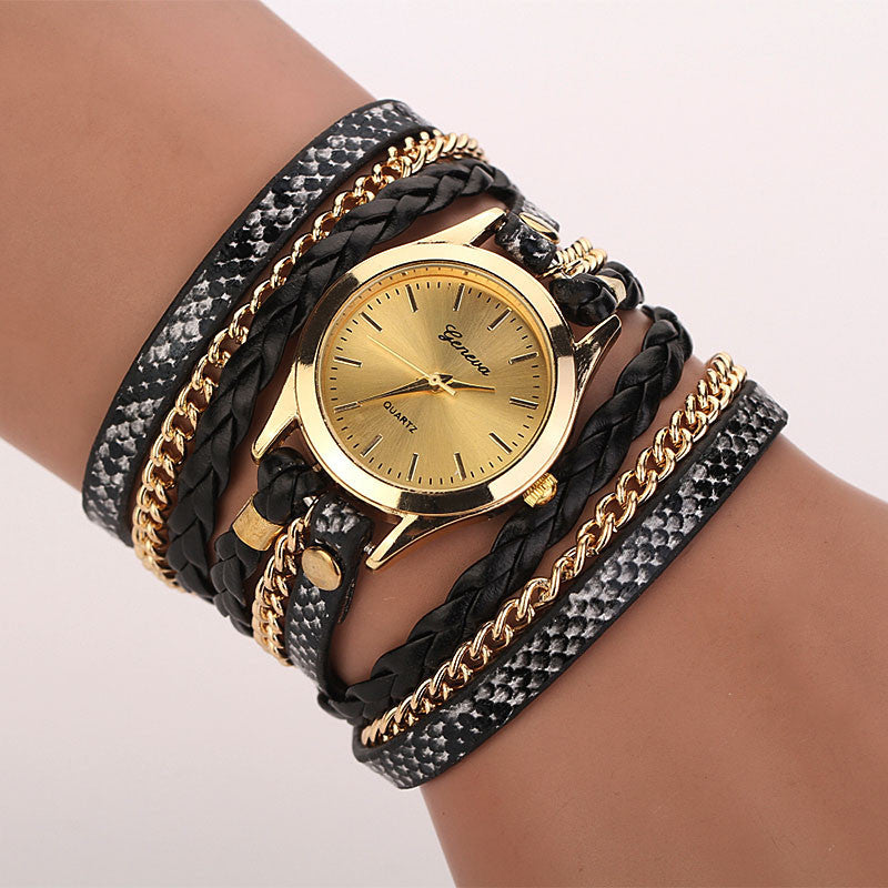 Hot Fashion Women Vintage Crystal Rivet Bracelet Watch PU Leather Braided Winding Wrap Analog Quartz Wrist Watch Ladies Watches