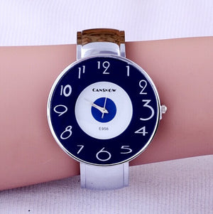 2016 Brand CanSnow Big Dial Cute Number Display Women dress Bracelet  watches Ladies Casual watch Fashion Quartz wristwatches