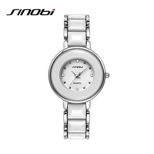 SINOBI Black Brand Women's Watch Imitated Ceramic Ladies Luxury Bracelet Watches 2016 Fine Steel Vogue Quartz Female WristWatch