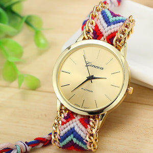 2016 Hot Sell New Brand Handmade Braided Elephant Friendship Bracelet Watch GENEVA Watches Women Quartz Watches relogio feminino