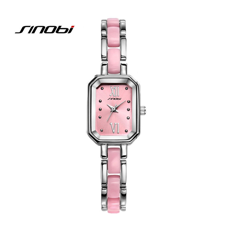 SINOBI Silver Bracelet Watch Women Rectangle Ladies Watches Elegant Womens Wrist Watch Quartz Relogio Feminino 2016
