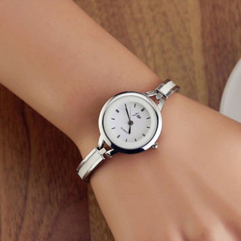 2015 Free Shipping& Wholesale!Elegant Women Girl Bracelet Watch Quartz Office Lady Workwear Dress Wristwatch Classic Silver Gold