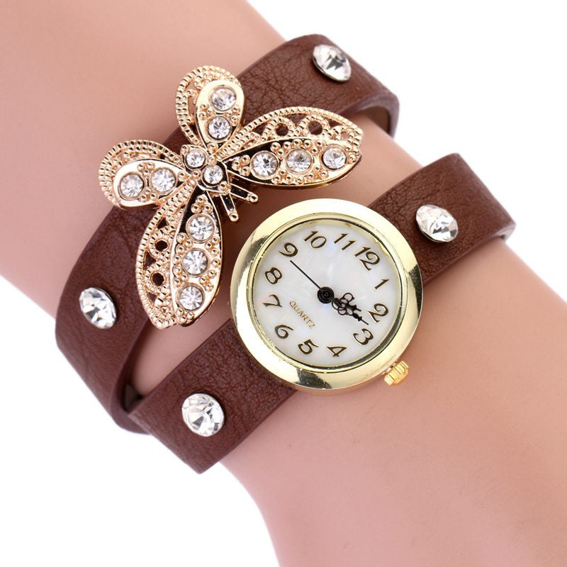 2016 Hot Sale Women Dress Watch butterfly drill with diamond bracelet watch Women around PU Leather Bracelet Quartz Wristwatch