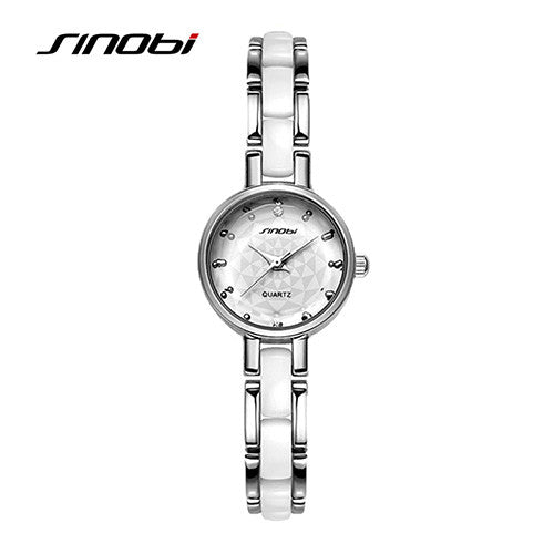 New Brand SINOBI Women's Watch Imitated Ceramic Ladies Luxury Bracelet Watches with Fine Steel Strap
