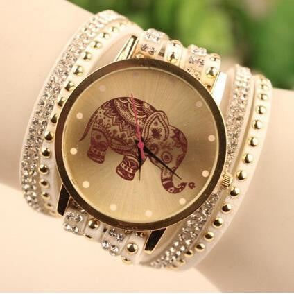 2015 New Brand Fashion Elephant Quartz Multilayer Leather Rivets Bracelet Watch Women Rhinestone Casual Relogio Feminino Watches