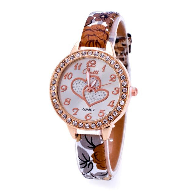 Loving Heart Dial Watch Women Wrist Floral Print Leather Bracelet Watches Women Diamond Dress Clock Quartz Watch Relojes Montre