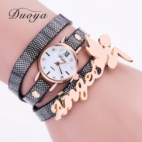 Duoya Watch Women Brand Angel Luxury Fashion Gold Women Bracelet Watch Dress Lady PU Leather Electronic Quartz Wristwatch XR1859