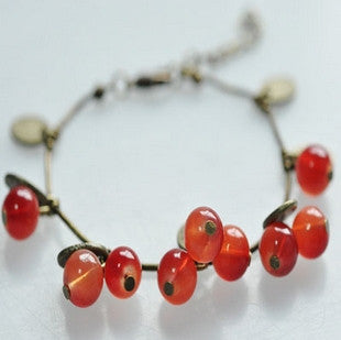 SL030   Hot New Fashion Factory Wholesales Vintage Sweet Cherry Beautiful Bracelet Jewelry Accessories