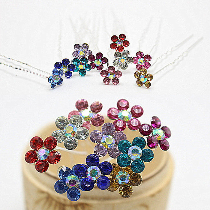 10pcs  Fashion Multi Colors Flower Crystal Wedding Brides Hairpins Rhinestone Hair Pins For Women  Hair Jewelry H-419 - Cerkos.com
