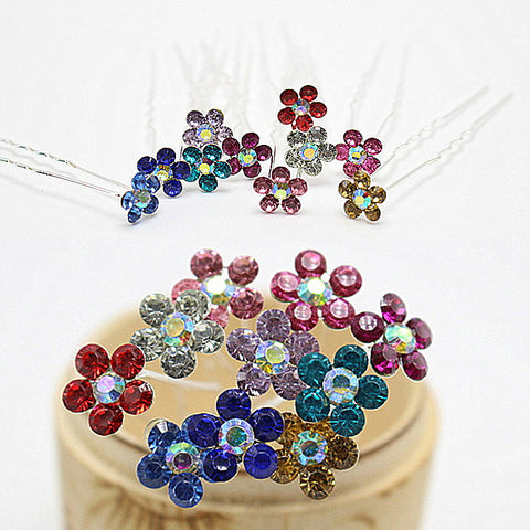 10pcs  Fashion Multi Colors Flower Crystal Wedding Brides Hairpins Rhinestone Hair Pins For Women  Hair Jewelry H-419