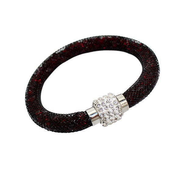 Cheap Price! Stardust Mesh Bracelets With Crystal Stones Filled Magnetic Clasp Charm Bracelets Bangles For Women